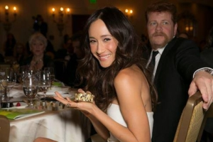 Actress Maggie Q and actor Michael Cudlitz (Walking Dead) with my Serengeti bracelet at the WildAid Gala 2015 in Beverly Hills