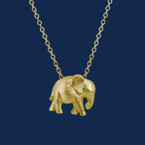 be-jewelled for wildAid handcrafted baby elephant pendant in 18k gold alexander jewell