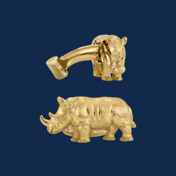18k gold rhino cuff links handcrafted by alexaander jewell for wildaid endangered species line of fine jewelry