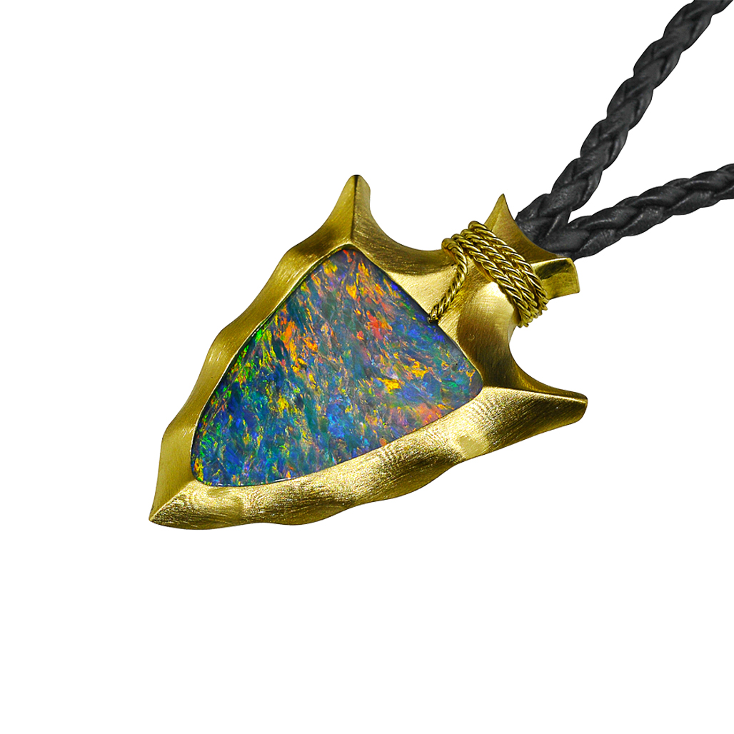 handcrafted arrowhead pendant with black austrailian opal alexander jewell