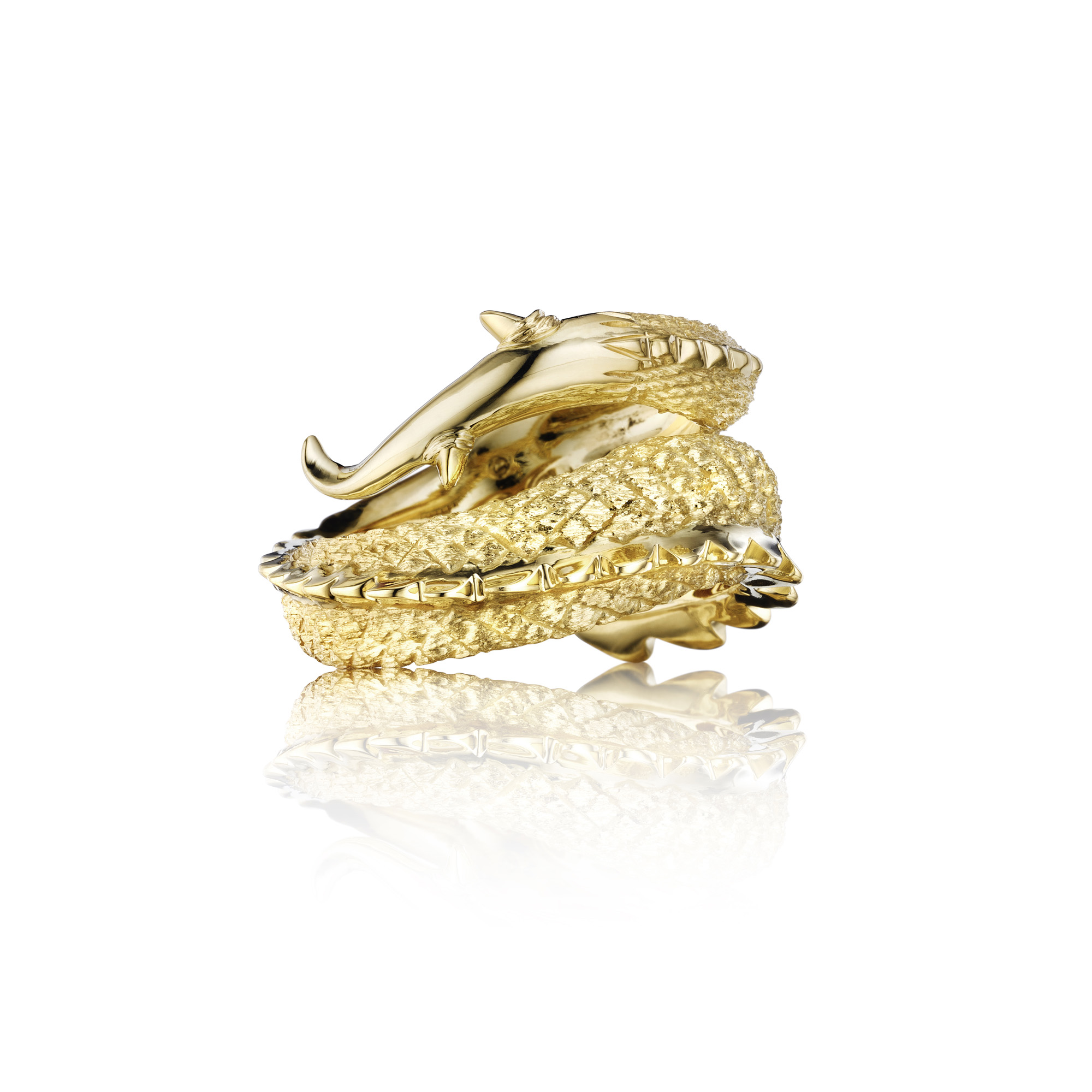 Gold Dragon Tail ring 18K green gold
