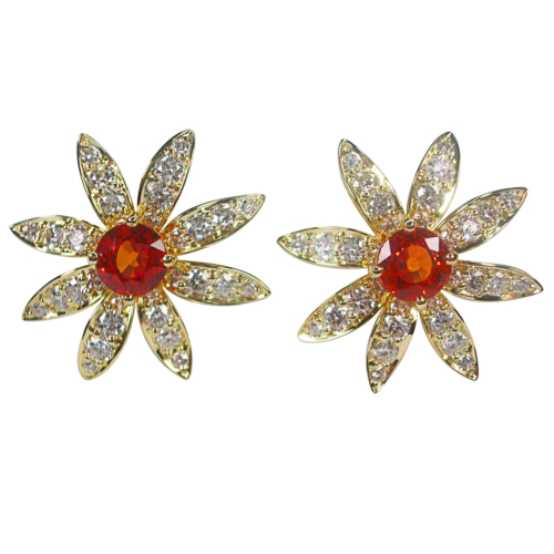 Flower Earrings Mandarin garnets fine quality diamonds 18K yellow gold