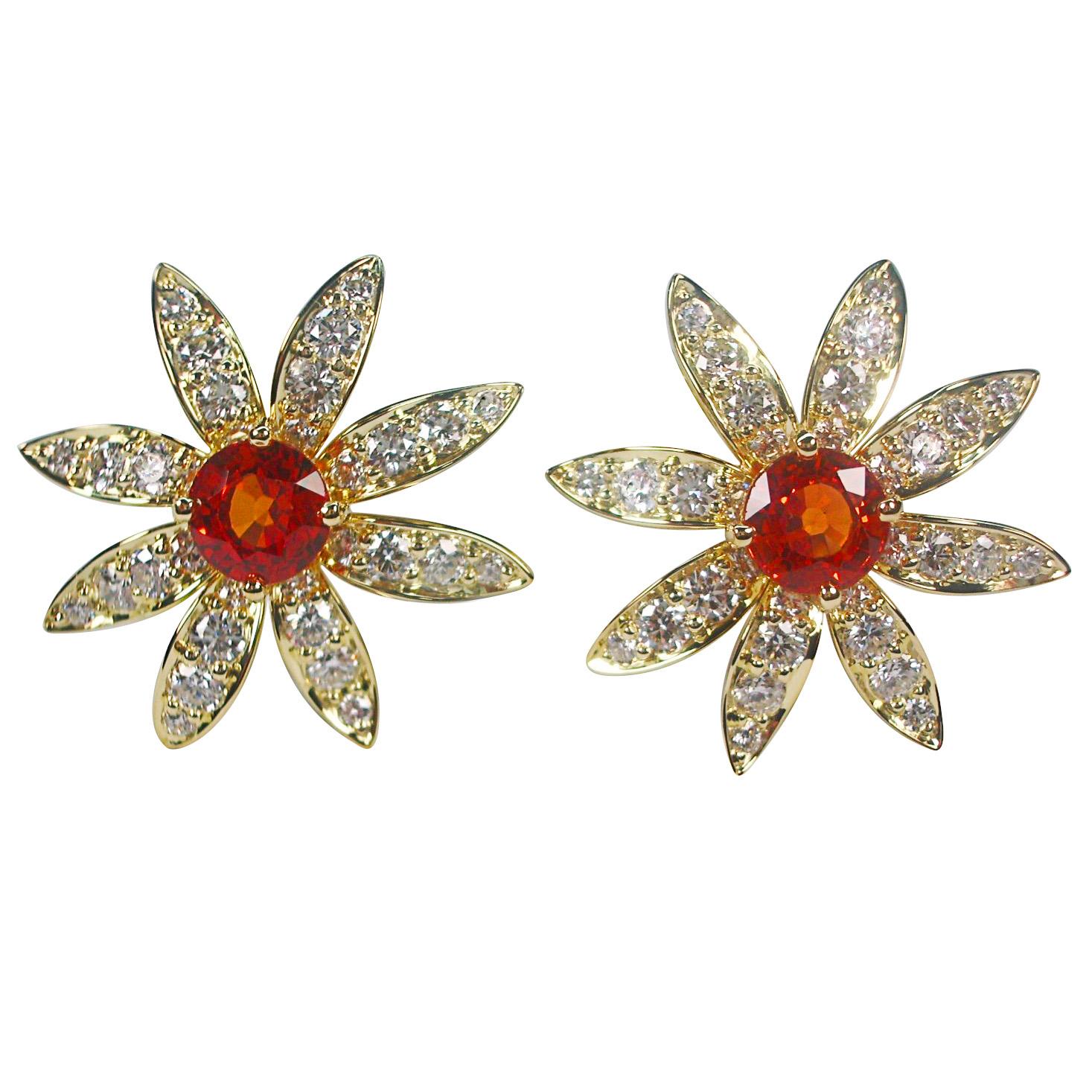 Flower Earrings Mandarin garnets fine quality diamonds 18K yellow gold