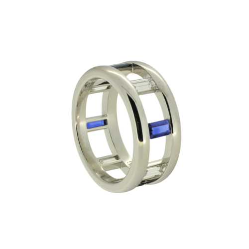 gents handcrafted wedding band with diamonds and sapphires alexander jewell