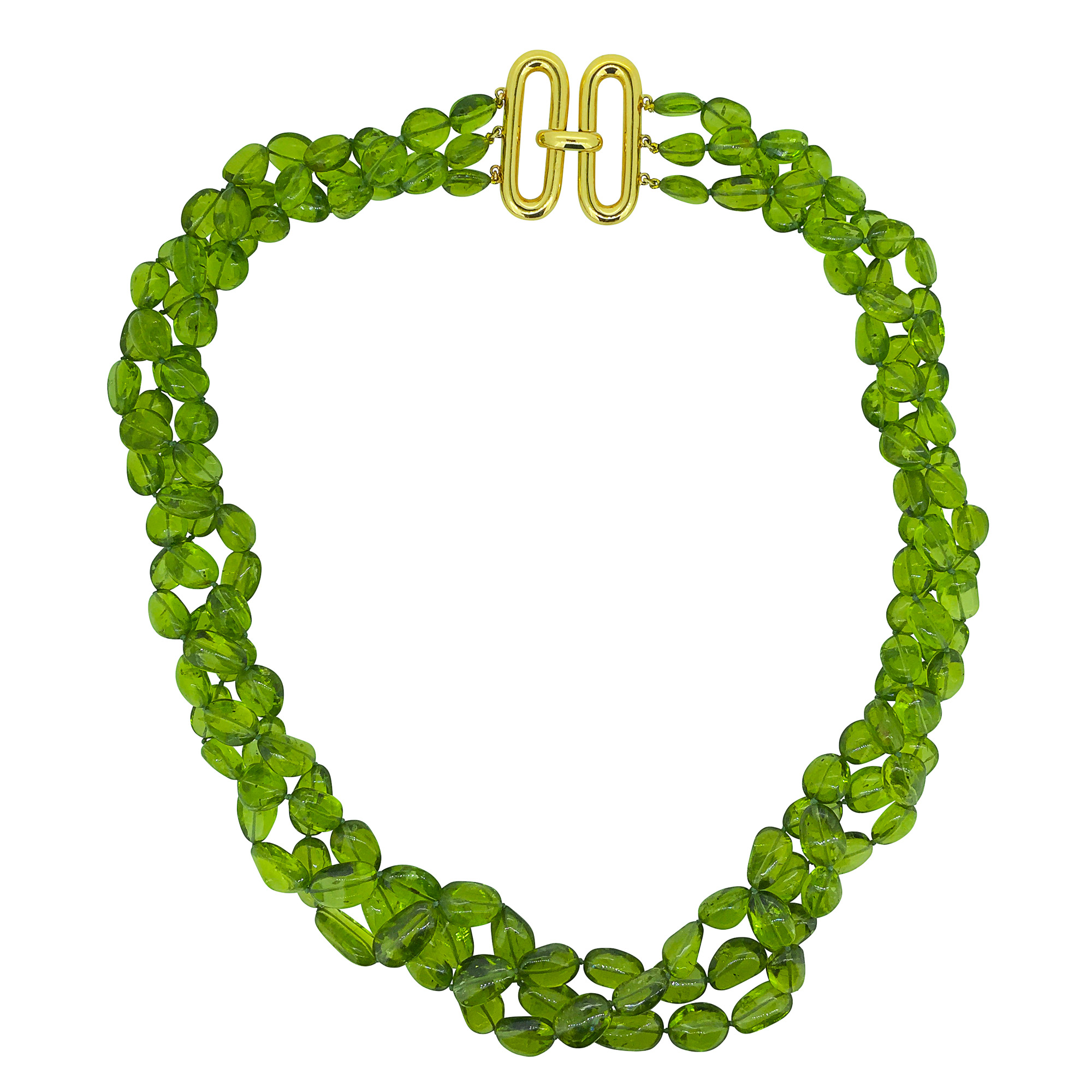 Peridot Necklace with oval clasp