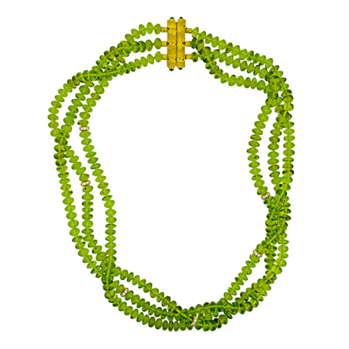 Peridot Necklace with Bamboo Clasp Arizona tumbled peridot beads handmade clasp in 18K yellow gold