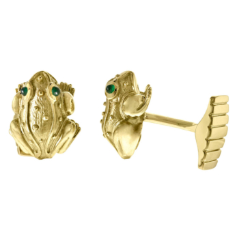 Gold frog cufflinks crafted by Frank Alexander Jewell