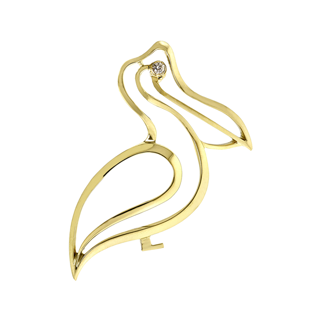 nature jewelry pelican brooch in18K yellow gold with fine quality diamond eye