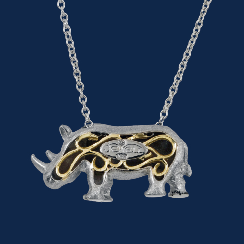 be-jewelled for wildAid handcrafted white rhino pendant in 18k gold alexander jewell