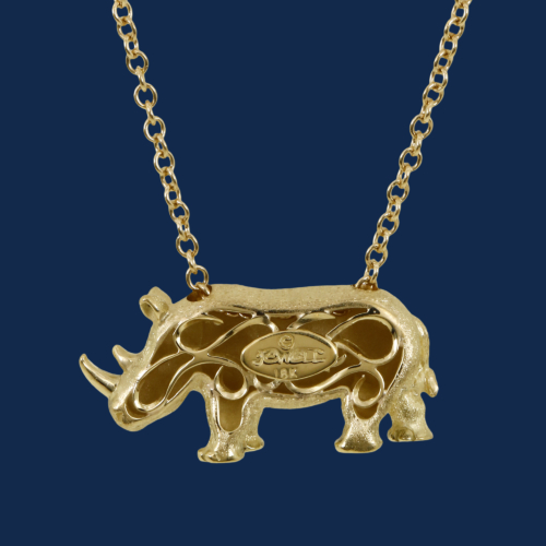 be-jewelled for wild aid alexander jewell handcrafted rhino pendant in 18k gold