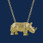 be-jewelled for wildAid alexander jewell handcrafted rhino pendant in 18k gold
