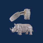 handcrafted white rhino cuff links in 18K gold WildAid endangered species line