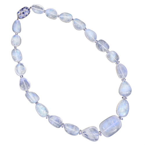 blue moonstone necklace with diamond and sapphire rondelles completed by a diamond and sapphire clasp alexander jewell