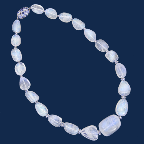 blue moonstone necklace with diamond and sapphire rondelles completed by a handmade diamond and sapphire clasp alexander jewell