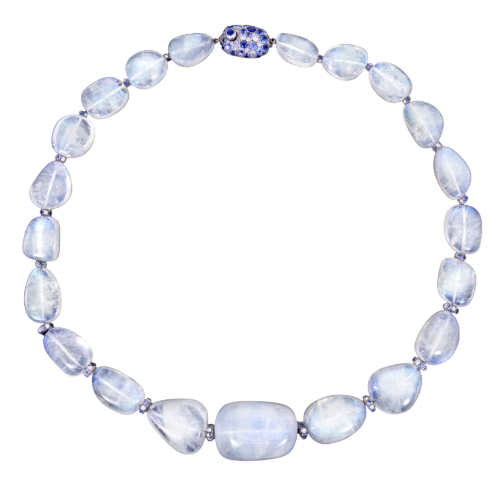 blue moonstone necklace with sapphire and diamond rondelles completed by a diamond and sapphire handmade clasp Alexander jewell