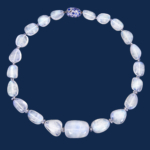 blue moonstone necklace with sapphire and diamond roundels completed by handmade diamond and sapphire clasp Alexander Jewell