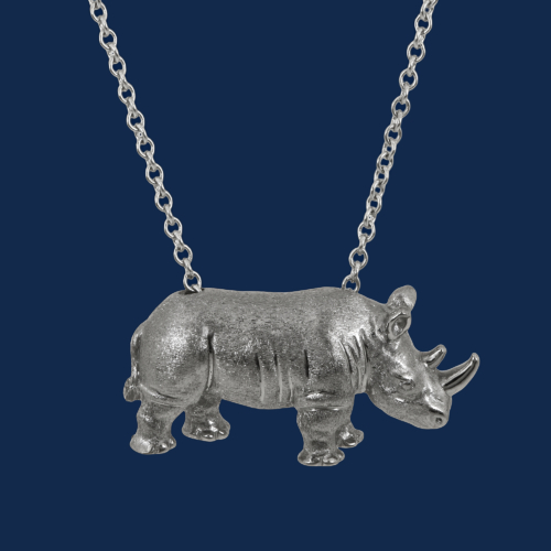 be-jewelled for wildaid 18k gold rhino pendant handcrafted by alexander jewell