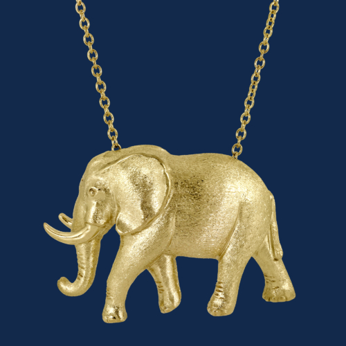 18k gold handcrafted elephant pendant for wildaid endangered species line of fine jewelry by alexander jewell