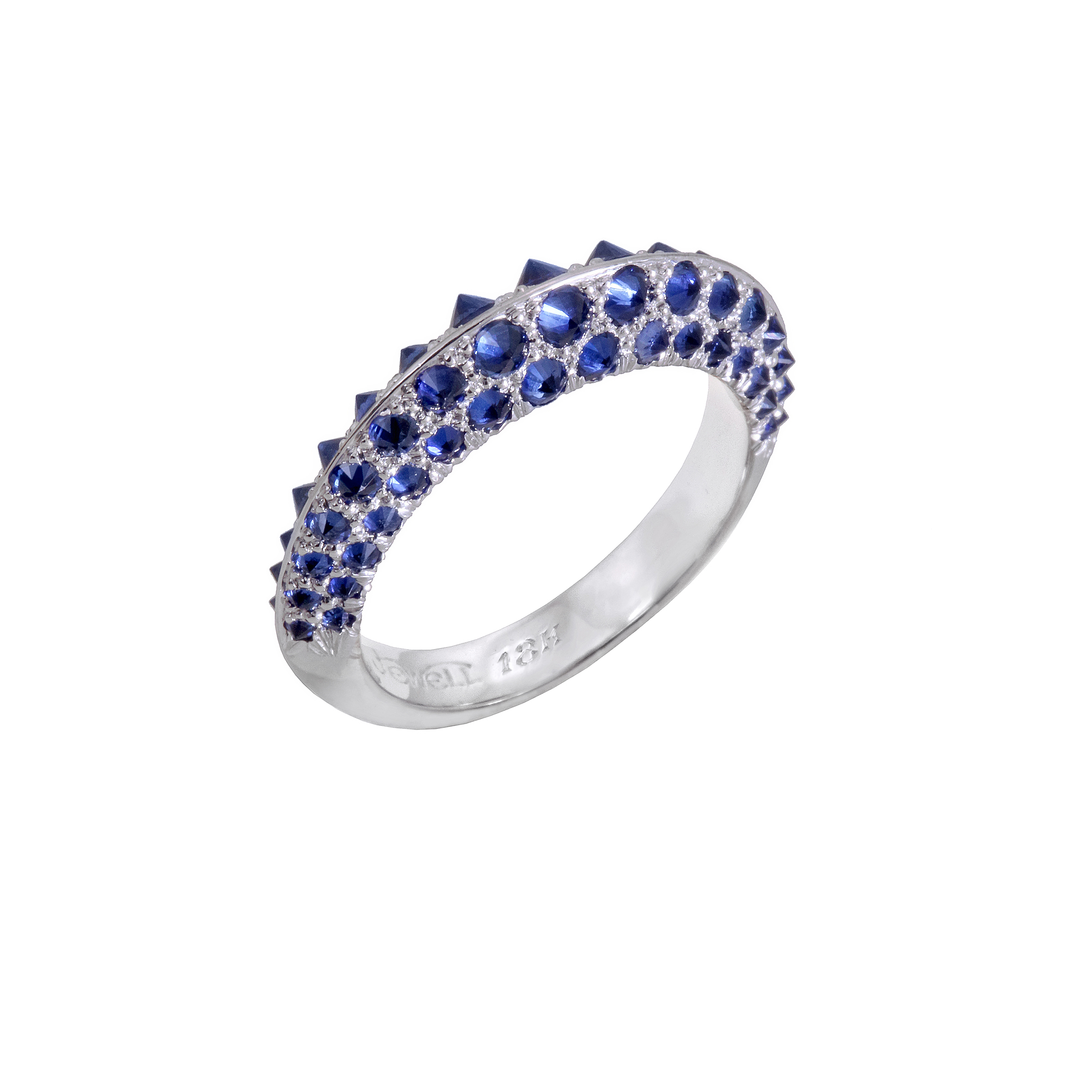 reverse set blue sapphire handcrafted ring in platinum
