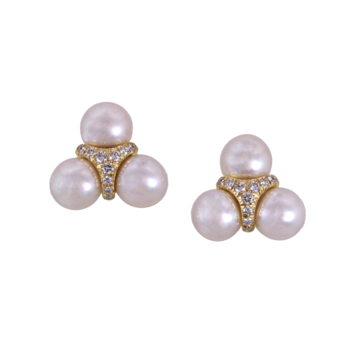 akoya pearl earrings with diamonds in 18k gold alexander jewell