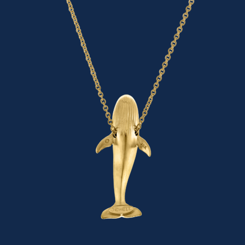 18k gold blue whale pendand handcrafted by alexander jewell wildaid endangered species fine jewelry
