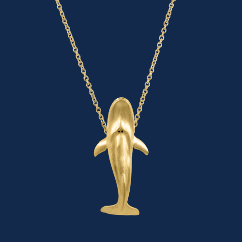 18k gold blue whale pendant handcrafted by alexanader jewell wildaid endangered species luxury jewelry