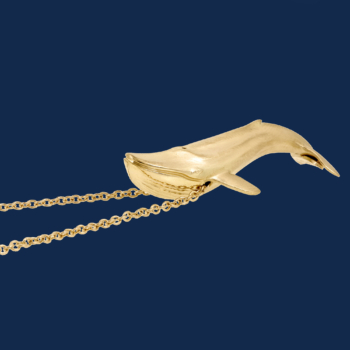 18k gold blue whale handmade by alexander jewell for wildaid endangered species fine jewelry