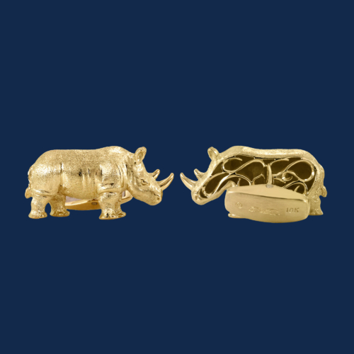 18k gold rhino cuff links handmade by alexander jewell for wildaid endangered species line of luxury jewelry