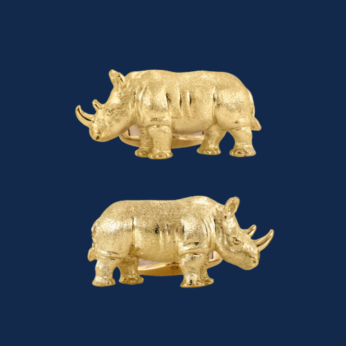 18k gold rhino cuff links handcrafted by alexander jewell for wildaid endangered species line of luxury jewelry