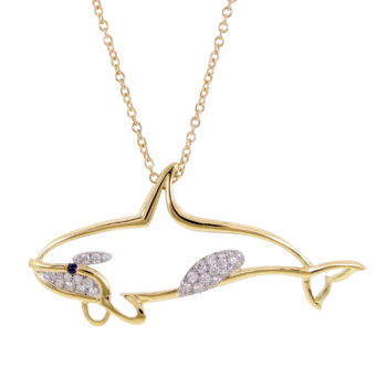 handcrafted 18k gold orca pendant nature