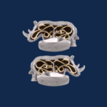 18k gold white rhino cuff links handcrafted for WildAid by alexander jewell