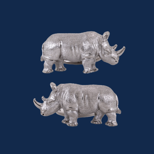 18K gold white rhino cuff links handcrafted for WildAid by alexanader jewell